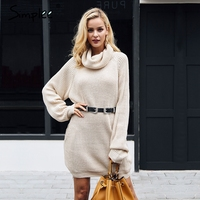 Simplee Turtleneck Knitted Sweater Women Casual Loose Long Sweater Pullover Female Winter Oversize Pull Knit Jumper