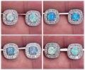 Silver Blue White Fire Opal Wholesale Retail For Women Jewelry Green Rainbow Stud Earrings 12mm OH2714-17