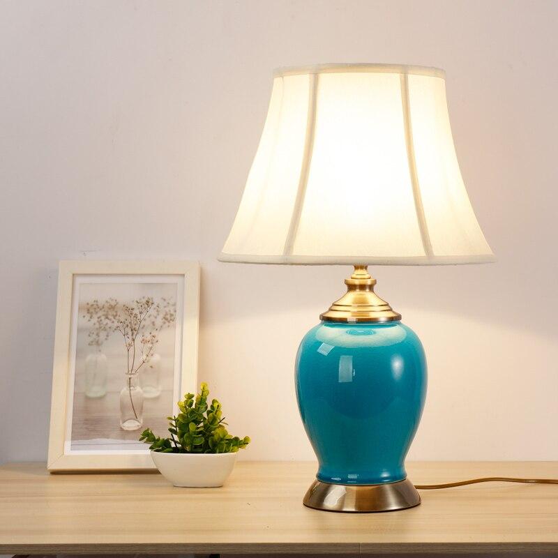 Американский Настольные лампы керамическая лампа спальня ночники трещины гостиная современный минималистский стиль исследование Лампы д...