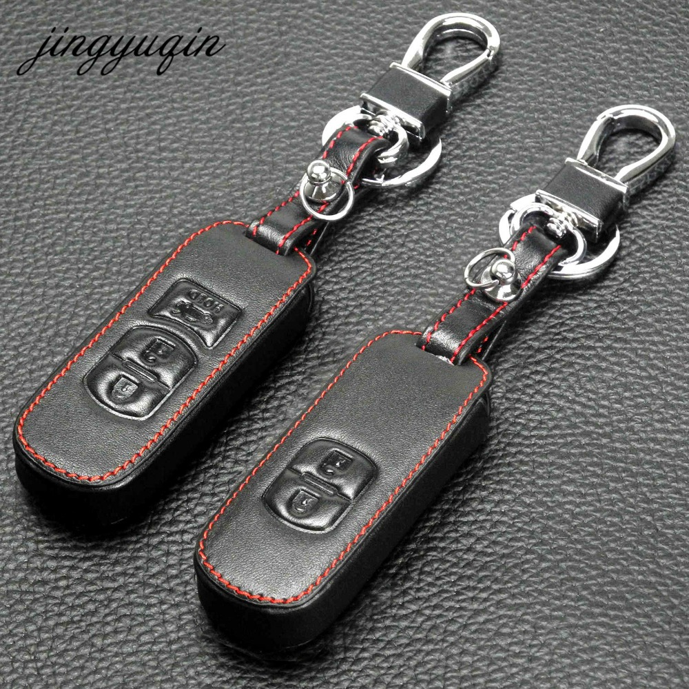 jingyuqin 2/3BTN Genuine Leather Car Key Case Protect for Mazda 2 3 5 6 CX-3 CX-4 CX-5 CX-7 CX-9 Atenza Axela MX5 Fob Cover Set