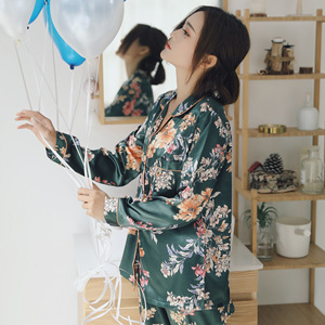 Image 3 - 春の女性のシルク長袖パジャマセット 2 個パジャマソフトカジュアル快適なパジャマプリント花スパースターナイトウェア