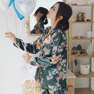 Image 3 - Spring Women Silk Long Sleeve Pajamas Sets 2 Pieces Sleepwear Soft Casual Comfortable Pyjama Print Flower Pijama Nightwear