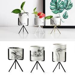 1 zestaw marmuru ogród ceramiczny pulpit sadzarka doniczka na sukulenty z żelaza Metal okrągły stojak uchwyt Bonsai doniczki doniczka zestaw 40|Doniczki i skrzynki do kwiatów|   -