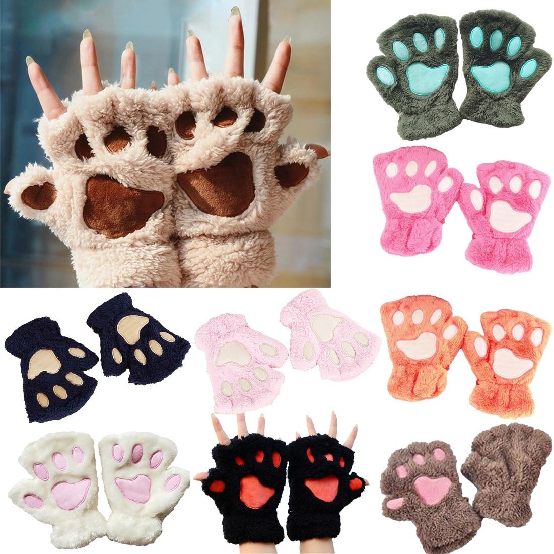 Discreet 2018 Winter Mooie Vrouwen Bear Cat Claw Paw Mitten Pluche Handschoenen Korte Vinger Half Handschoenen Dames Half Cover Vrouwelijke Handschoenen