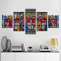 Stained Glass Style in church St Etheldreda Pictures Living Room Paintings Last Supper Wall Art 5 Pcs Canvas Artwork House Decor