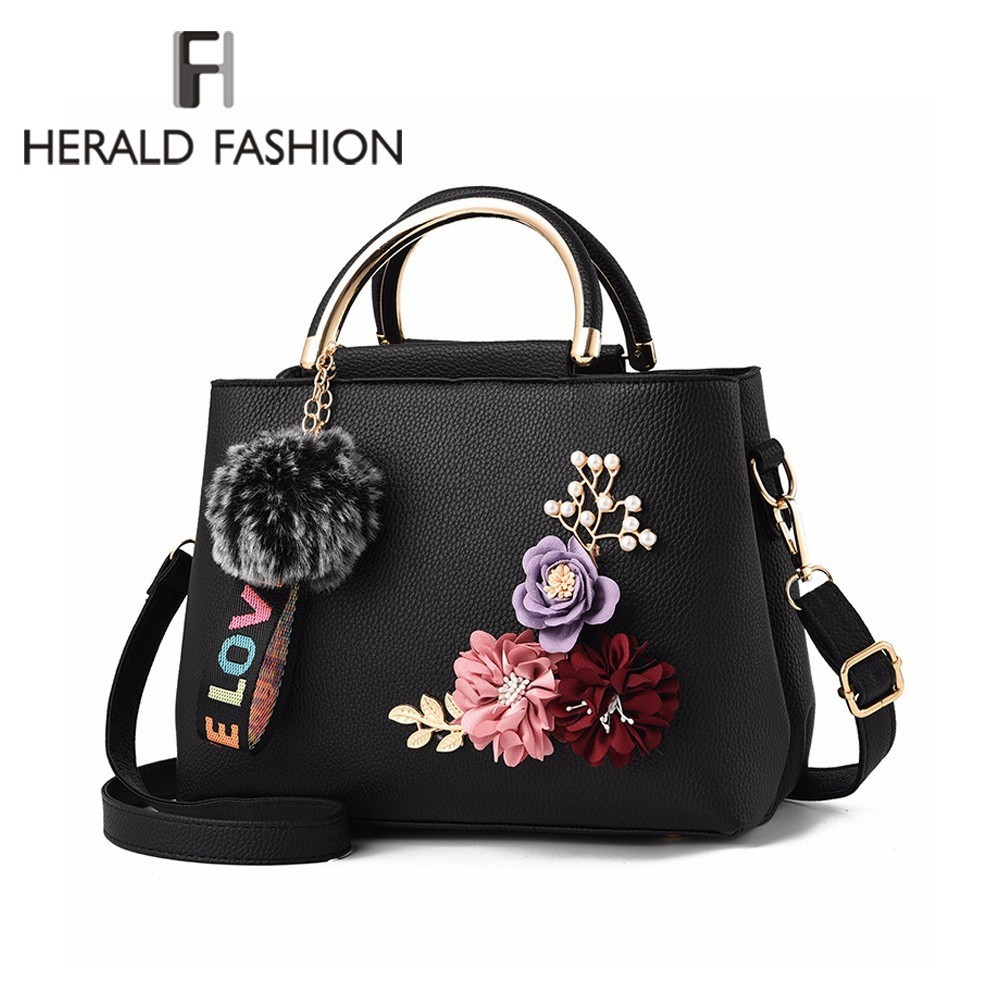 Herald Fashion Women Hanbag with Flowers Quality Leather Female Shoulder Bag Casual Top-handle Tote Bags Ladies' Messenger Bags цена