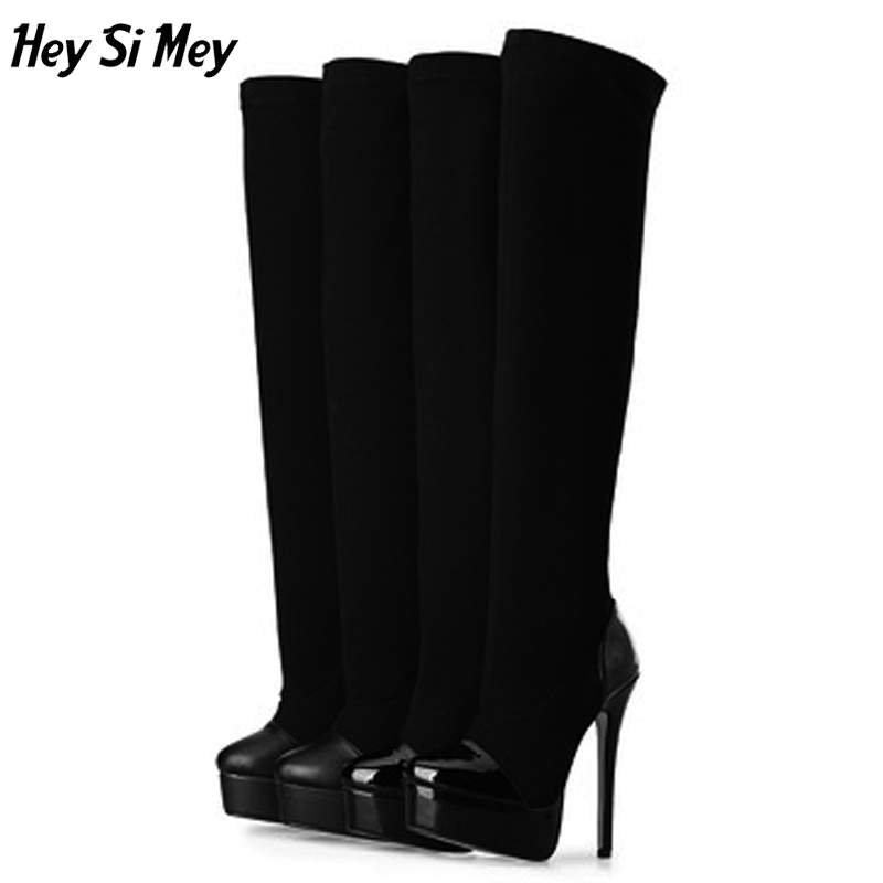 Hey Si Mey 2018 Shoes Female Elastic Cloth Over The Knee Boots With 16cm High Heels Lady Genuine Leather Shoes Thigh High Boots hey si mey spring and autumn high heeled women platform shoes painted black red pink women single shoes with 16cm platform pump