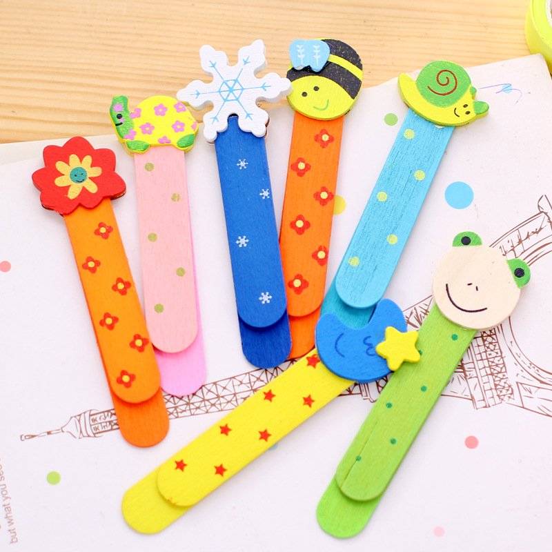 2 Pc Novelty Item Colorful Cartoon Wooden Bookmarks Scale Ruler for Kids Chidren Student Creative Gift Office School Supplies