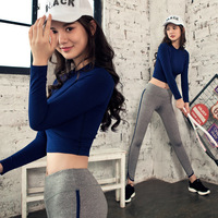 New Autumn Female Yoga Set Gym Fitness Geometric Printing Sports Suit 2 Pieces Shirts Pants