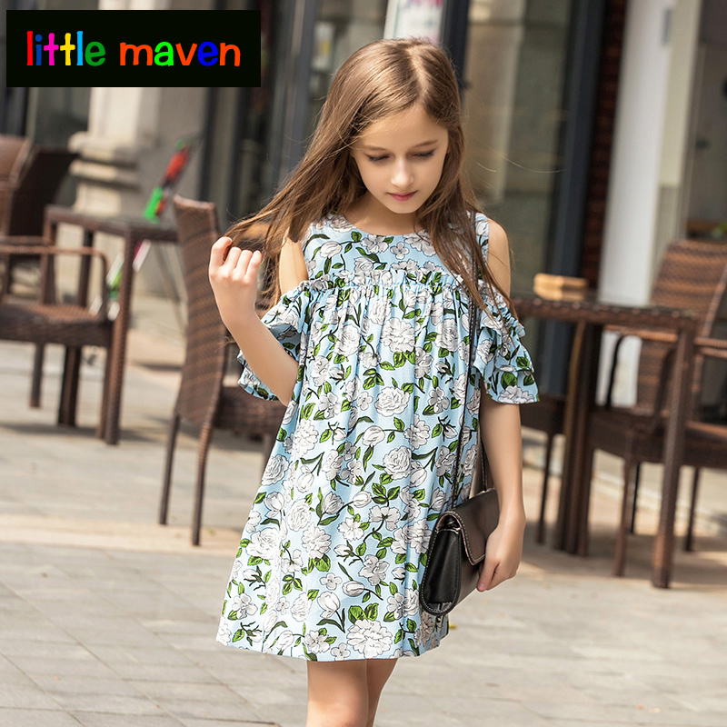 2018 Dress For Girl In Holiday Summer Beach Off-shoulder Vintage Dresses Baby Girl Clothes Toddler Big Girl Clothing 6 8 10yrs Soft And Antislippery