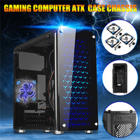 Pro Gaming Computer ATX PC Case Chassis USB 3.0 + 3 Blue Glowing Cooling Fans Computer Cases & Towers Computer Components