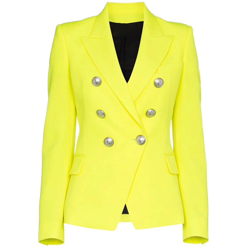 HIGH QUALITY Newest Fashion 2019 Designer Blazer Women s Lion Buttons Double Breasted Fluorescence Yellow Blazer