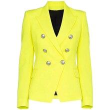 Женский двубортный Блейзер на пуговицах, желтый флуоресцентный Блейзер, высокое качество, новинка 2020