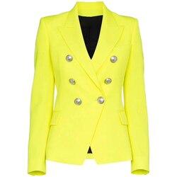 ¡Novedad de 2020! chaqueta de diseño de alta calidad con botones de León de color amarillo fluorescente y doble botonadura