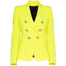Hoge Kwaliteit Nieuwste Fashion 2020 Designer Blazer Vrouwen Leeuw Knoppen Double Breasted Fluorescentie Geel Blazer Jas