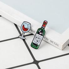 Винное время мини милые винные и Винные бокалы пара штифтов красное вино Бутылка Чашка Броши Эмаль Булавка значок для влюбленных лучший друг штифты