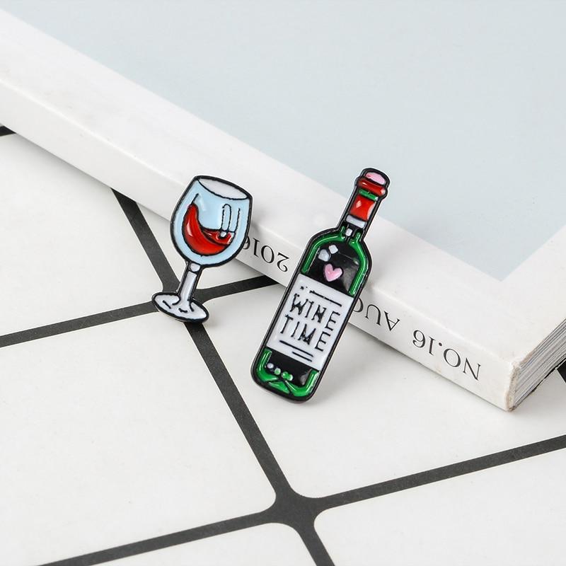 Вино время мини милые винные и винные очки пара штифтов красное вино Бутылка Чашка Броши Эмаль значок для влюбленных лучший друг булавки