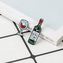 Wine Time Mini Cute Wine And Wine Glasses Couple Pins Red Wine Bottle cup Brooches Enamel Pin Badge For Lovers Best Friend Pins(China)