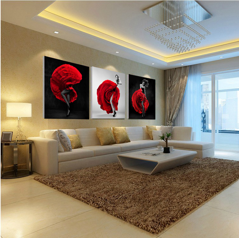 Unframed 3 Pieces Sexy Lady Figure Wall Art Picture Printed Oil Painting by Numbers High Quality Home Decor