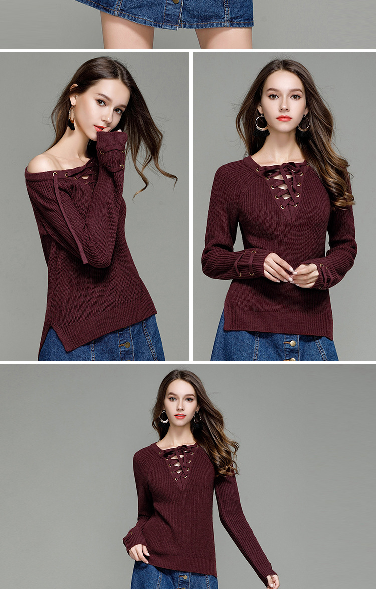 HTB1SqMBSXXXXXXgXXXXq6xXFXXXd - Sexy V-Neck With Knitted Long Sleeve Sweater JKP286