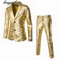Bronzing Fabric Fashion Trend Men S Long Sleeve Bright Side Slim Leisure Suits Jacket Pants TB93