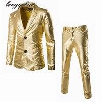 Bronzing Fabric Fashion Trend Men S Long Sleeve Bright Side Slim Leisure Suits Jacket Pants TB93