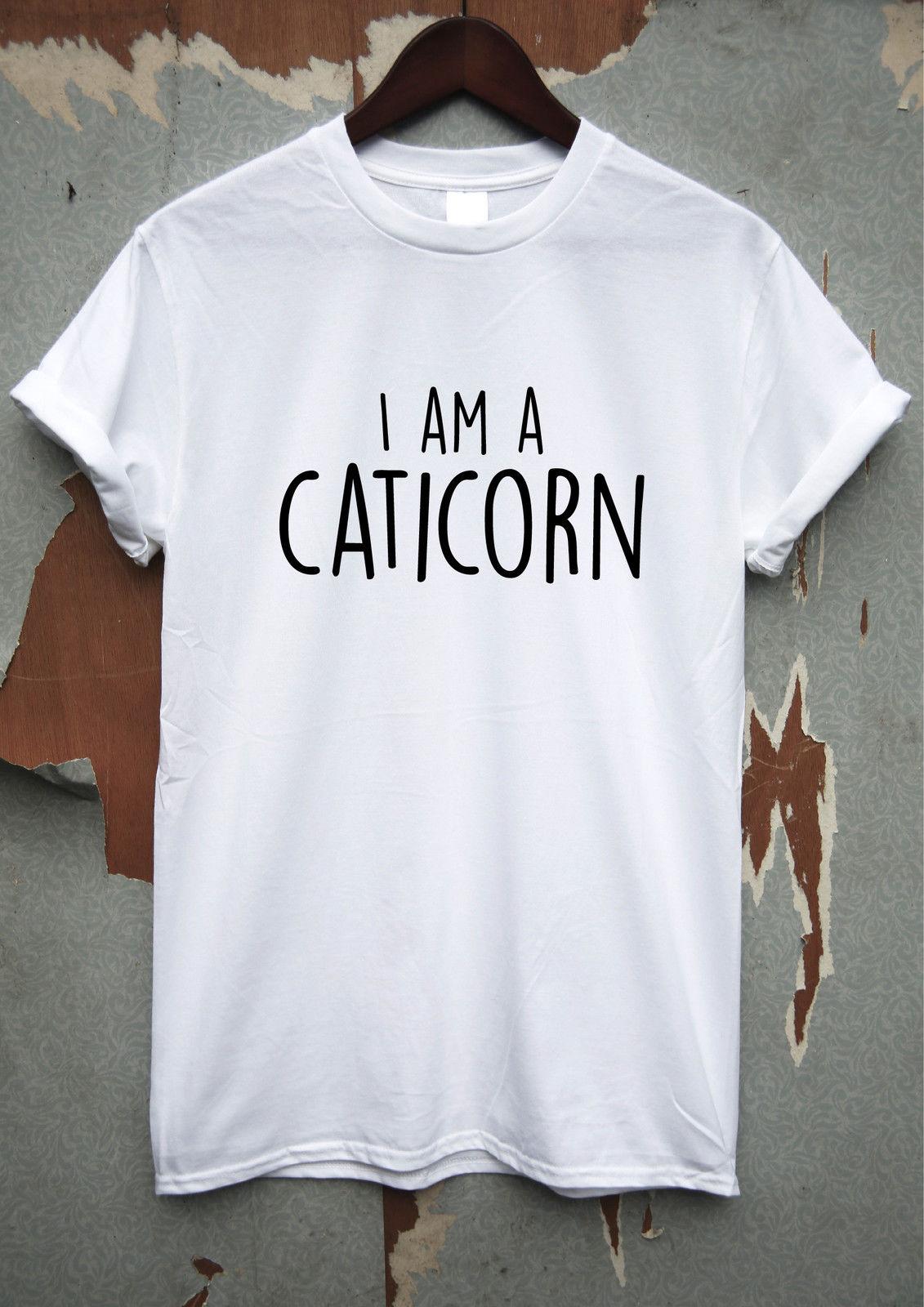 Я caticorn забавная футболка на день рождения шутка мужские лозунг Юмор Лето 2018 коротк ...