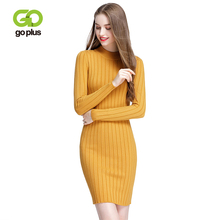 GOPLUS Solid Warm Knitted Sweater Dress Women 2019 Fall Winter Sexy Slim Bodycon Elastic Skinny Mini Female Vestidos