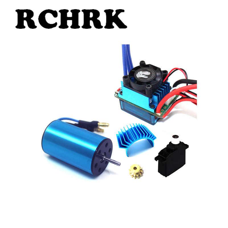 2440 motor sin escobillas + 35A ESC + 12 T engranaje del motor + radiador del Motor + motor de dirección para coche RC 1/16, 1/18 WLTOYS HSP 94182, 94183, 94185