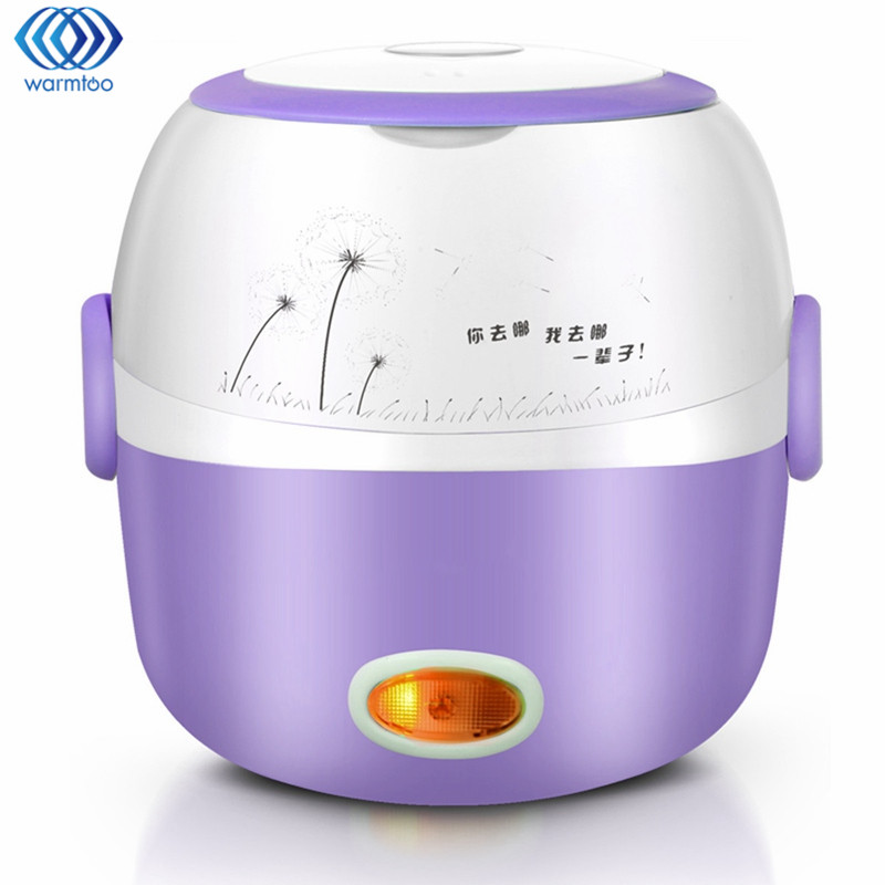Mini Electric Lunch Box Portable Rice Cooker Steamer 220V 1.3L 2 Layer Stainless Steel Heating Device Kitchen Picnic Containe