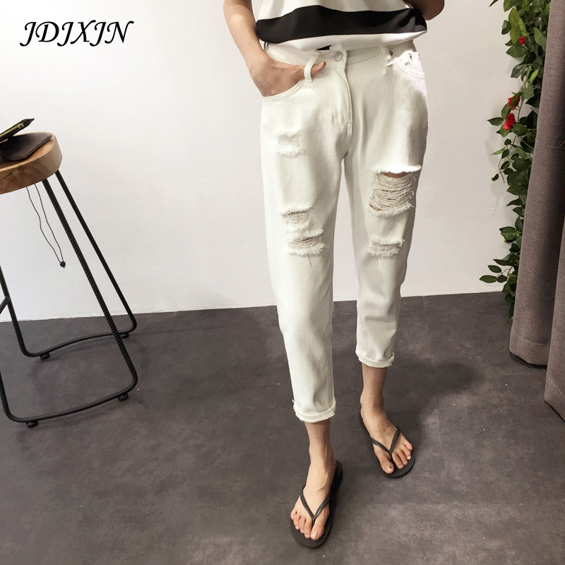 2017 spring summer new Korean slim size loose hole jeans female straight Haren nine pants students  XY4064