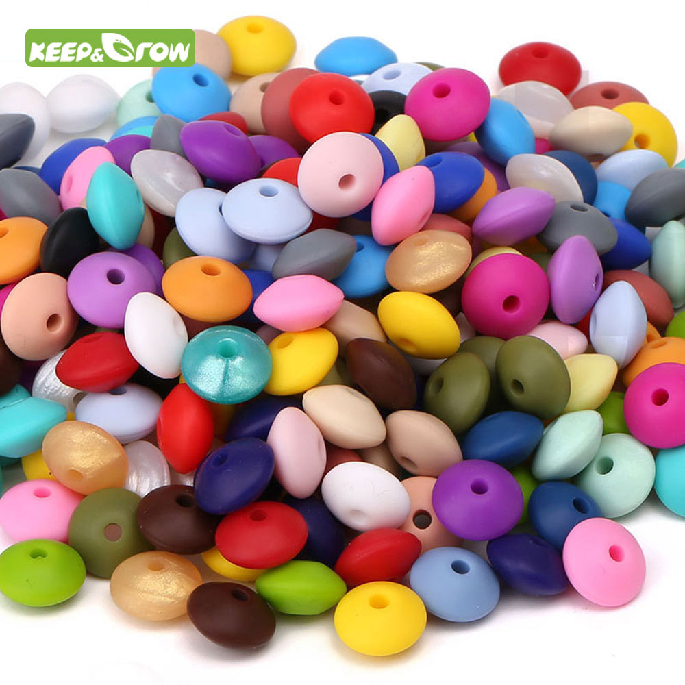 Keep&grow 50Pcs/lot Baby Lentils Beads Silicone Beads Abacus Lentils 12mm  Baby Teether DIY Pacifier Chain Clip
