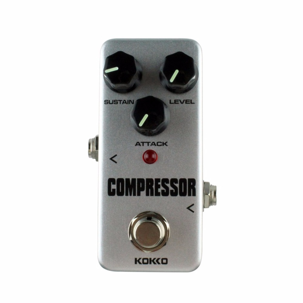 KOKKO Mini Compressor Pedal Portable Guitar Effect Pedal 9V DC 300mA Musical Instruments Effects Anti-skid Aluminum alloy FCP2 kokko frb2 mini space pedal portable guitar effect external ac adapter delivering 9v dc regulated guitar parts
