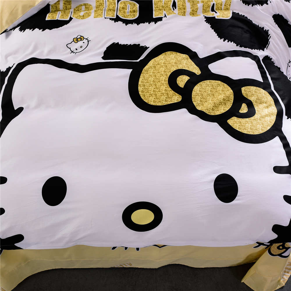 Black hello kitty bedding - Online Shop Yellow Black Hello Kitty Bedding Sets Bedspreads Girl S Childrens Quilt Duvet Cover 500tc Woven Cotton Twin Full Queen King Size Aliexpress