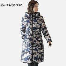 2017 New winter coat Female fashion printing pattern Big pocket warm Parkas women long Hooded Slim jacket
