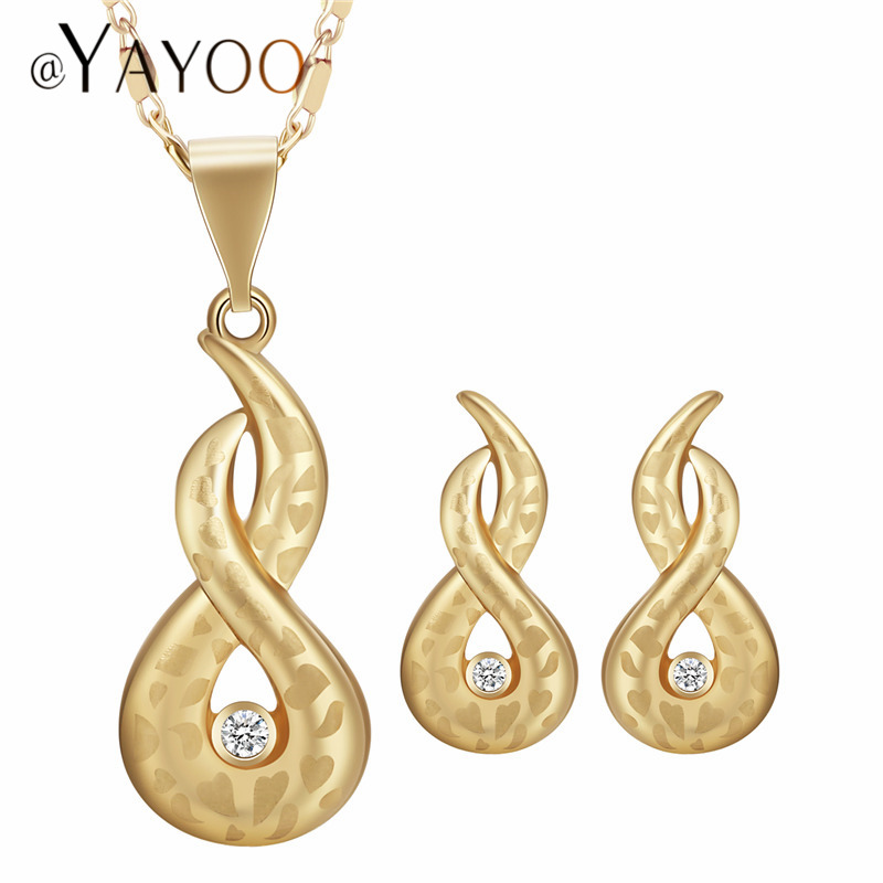 AYAYOO Gold Color Jewelry Sets For Women African Beads Jewelry Set Nigerian Wedding Bridal Necklace Set Fashion Jewellery