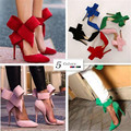 Fashion Women's Shoes Pointed Toe Big Bowtie Thin Heels High Heels Sandals  Female Wedding Shoes Red Blue Green Pink Black 820
