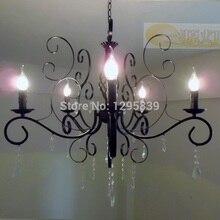 Новый специальный Европейский и Американский минималистский гостиная кованого железа свеча люстра кристалл освещение потолка ламп спальню