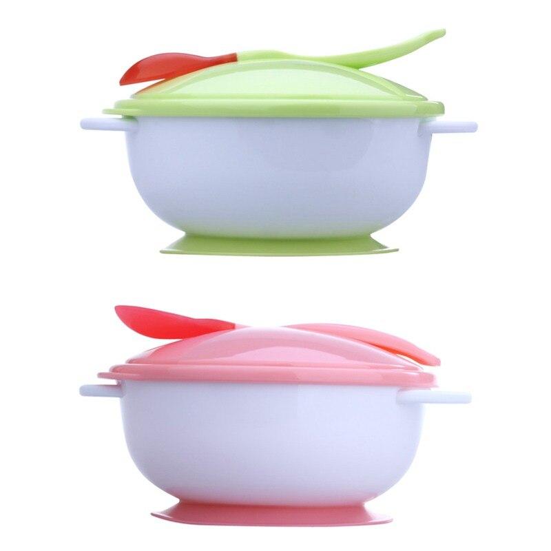 Детские Кормление чаша с присоской + Температура зондирования Обучение ложка + обложка 3 шт./компл. маленьких Посуда комплект Кормление чаша