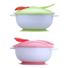 Infant Baby Feeding Bowl With Sucker+Temperature Sensing Training Spoon+Cover 3Pcs/Set Baby Tableware Set Kids Feeding Bowl