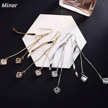 Classic Korean Star CZ Ziron Long Drop Earrings Copper Tassel Fringe Chain Ear Line Long Pendientes Boucle D'oreille star cz drop earrings