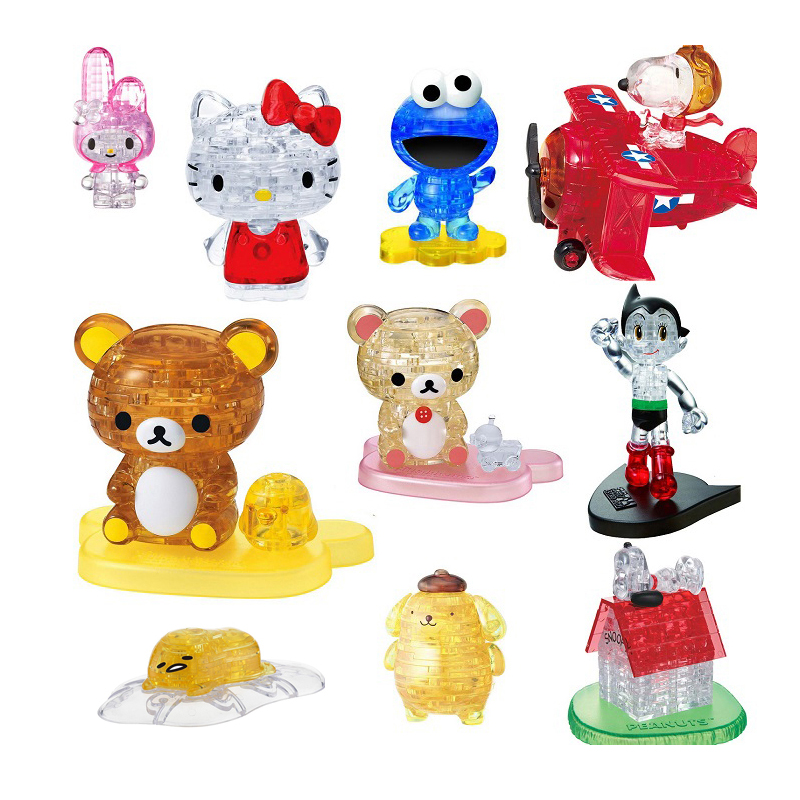 Kidpower Happy Hour New Arrival Crystal Puzzle 3D Animal Puzzle Bus Apple Rose Tiger Brain Game Educational Toys Gift Present