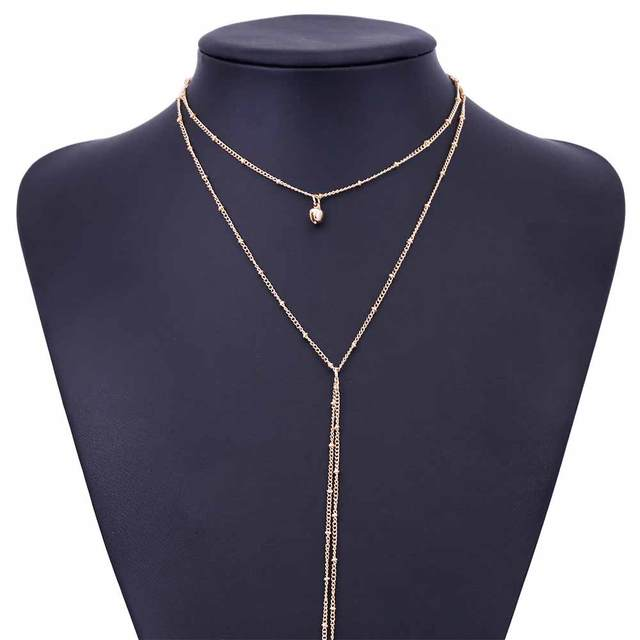 TOMTOSH 2017 New Delicate women necklace Y Lariat necklace  Dainty Gold beaded chain Choker necklace