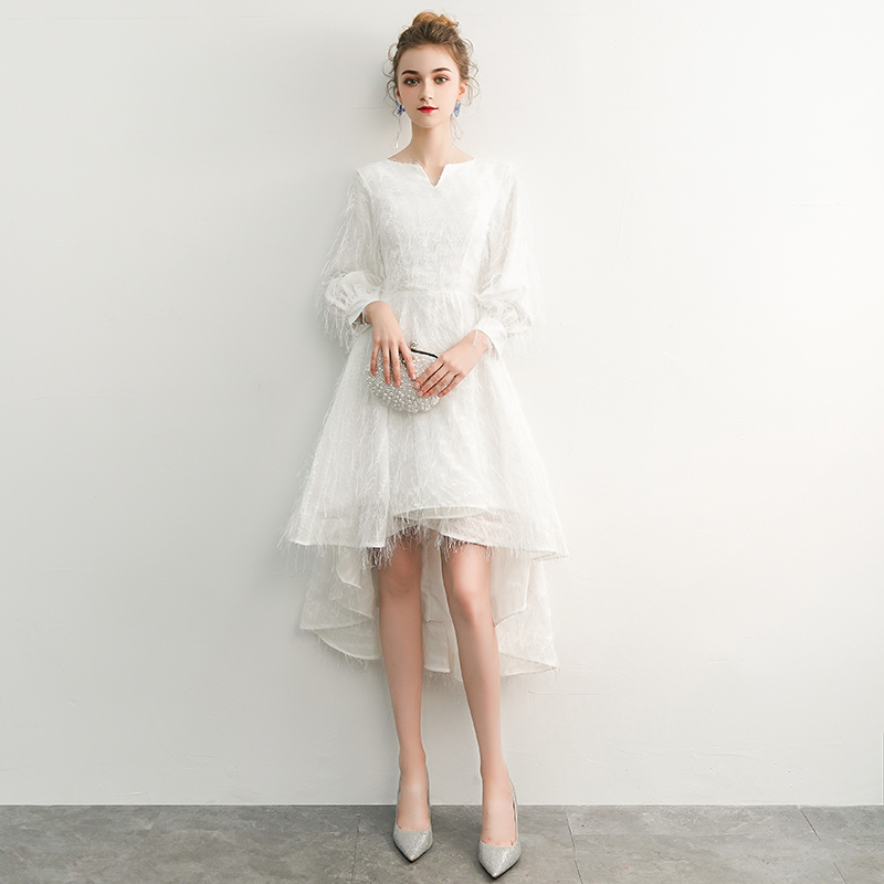 Robe De Soiree 2019 White Elegant A Line V Neck Long Sleeve High Low Lace Evening Dresses Party Gowns Vestido De Festa LYFY12