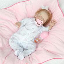 New Arrival 22″ Sleeping Silicone Reborn Dolls with Hand Rooted Mohair and Eyelash in Soft Baby Clothes Set with Pink Headband