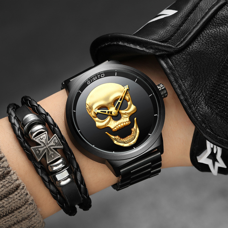 GIMTO Brand Vintage Gold Black Skull Watch Full Steel Waterproof Clock Casual Military Quartz Watches Sport Relogio Masculino protective outdoor war game military skull half face shield mask black