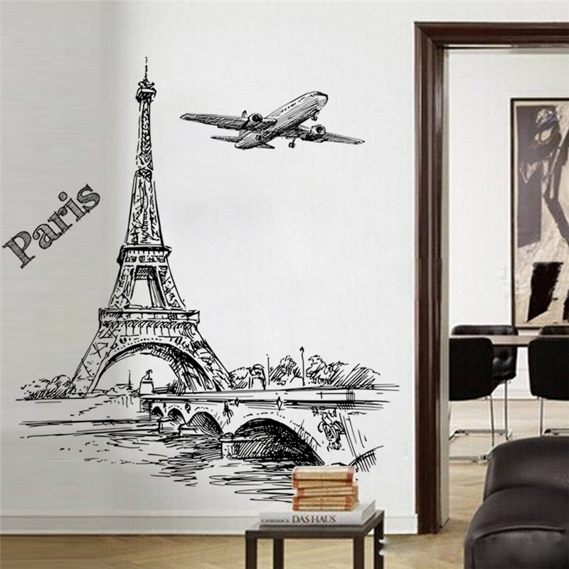Creative Sketch Tower Bridge Wall Decals Bedroom Home Decor 50*70cm Scenery Wall Stickers Pvc Mural Art Diy Posters