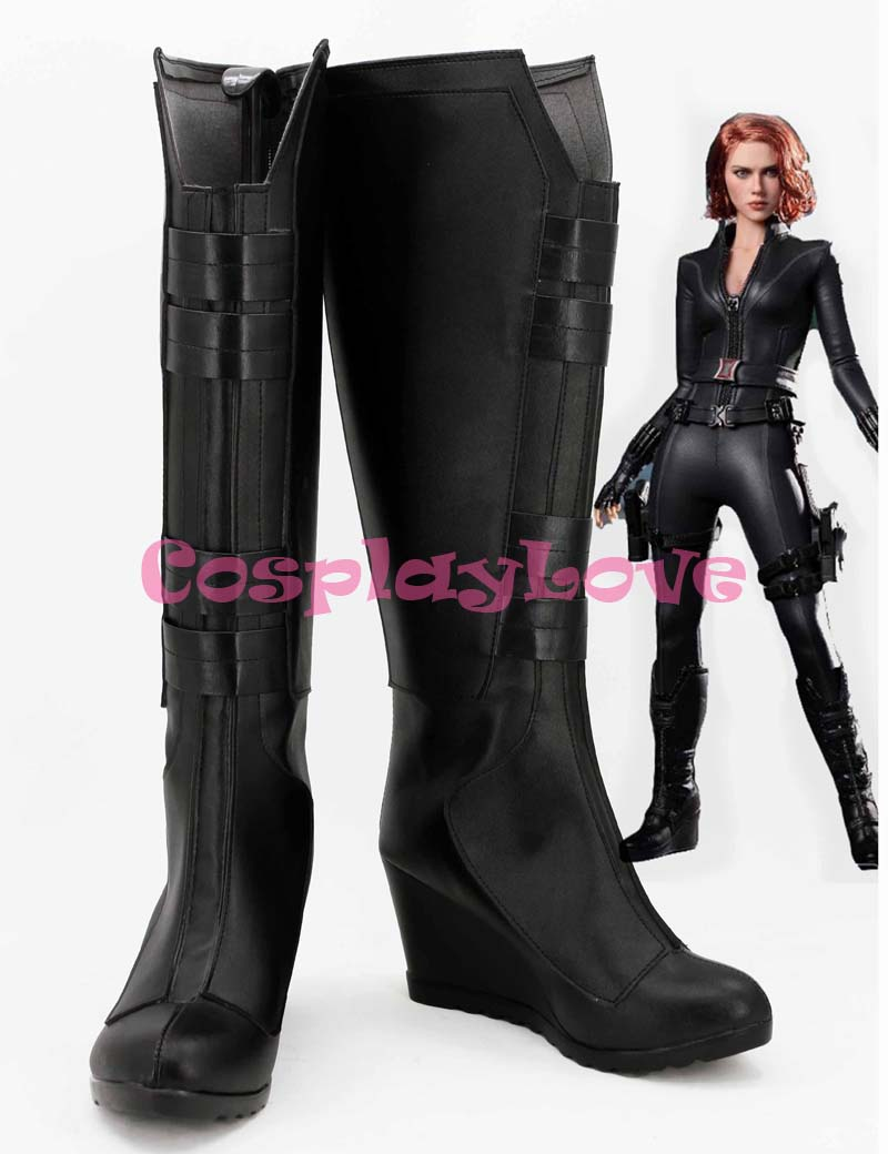 Newest Custom Made American Movie Marvel's The Avengers Black Widow Natasha Romanoff Cosplay Shoes Long Boots For Halloween