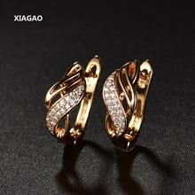 цена на XIAGAO New Design18K Gold Plated Charm Austrian Crystal Hoop Earrings Shiny Rhinestone Delicate Earring Jewelry