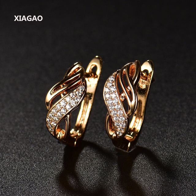 Gold-color Charm Austrian Crystal Hoop Earrings